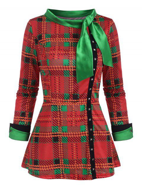 Christmas Plaid Pussy Bow Rivet Slit Cuff Top