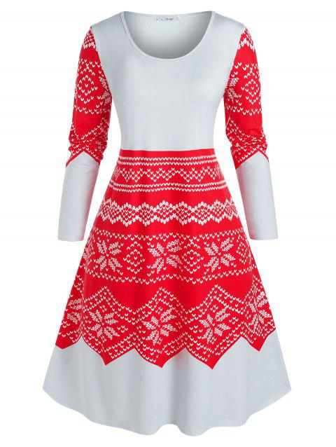 Plus Size Snowflake Print Midi Sleep Dress