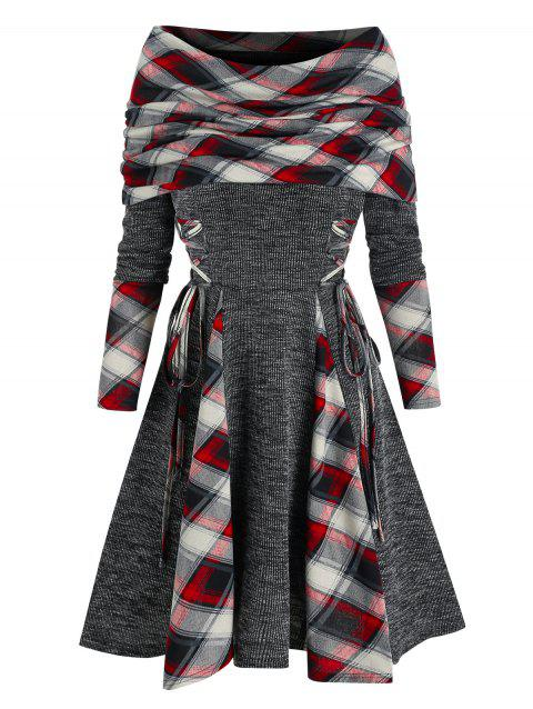 Plaid Print Lace-up Convertible Dress