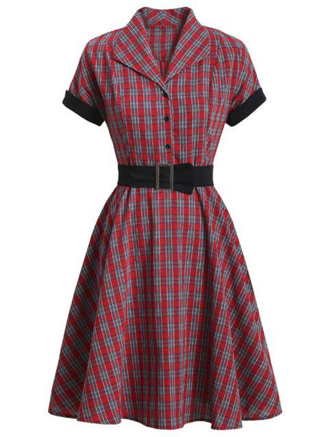 Plaid Mock Button Belted Rolled Sleeve Dress