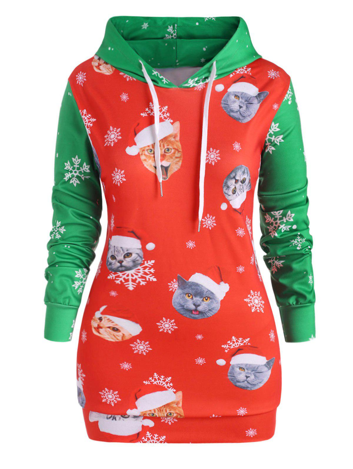 Plus Size Two Tone Christmas Printed Hoodie - RED 3X