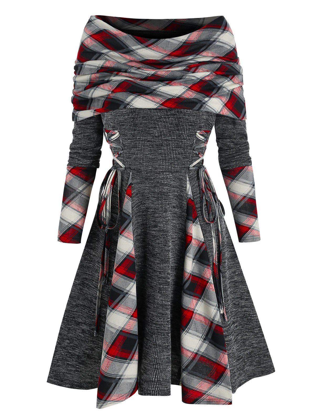 Plaid Print Lace-up Convertible Dress - multicolor A M