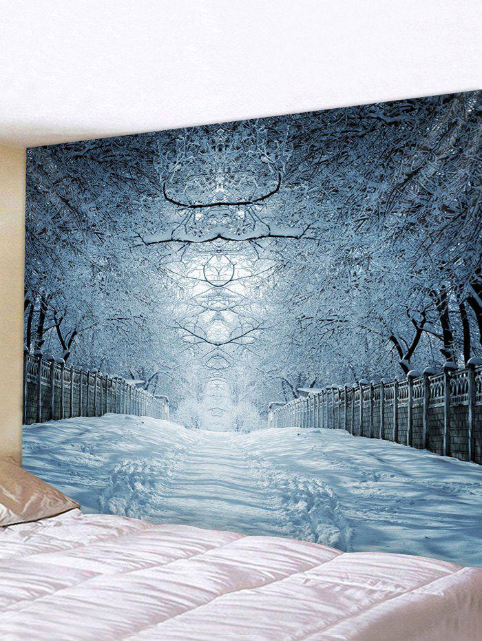 Snow Forest Avenue Print Tapestry Wall Hanging Art Decor - multicolor W91 X L71 INCH
