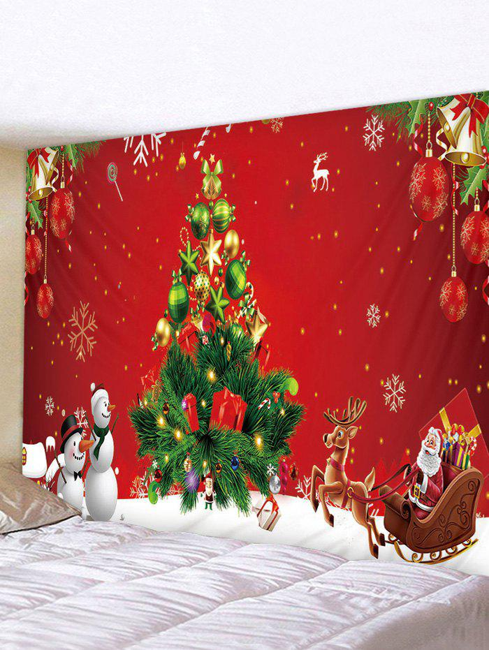 Snowman Christmas Tree Printed Waterproof Tapestry - multicolor W91 X L71 INCH