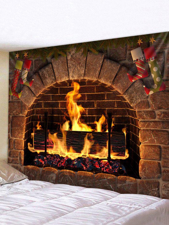 Christmas Fireplace Stockings Print Tapestry Wall Hanging Art Decoration - multicolor W91 X L71 INCH