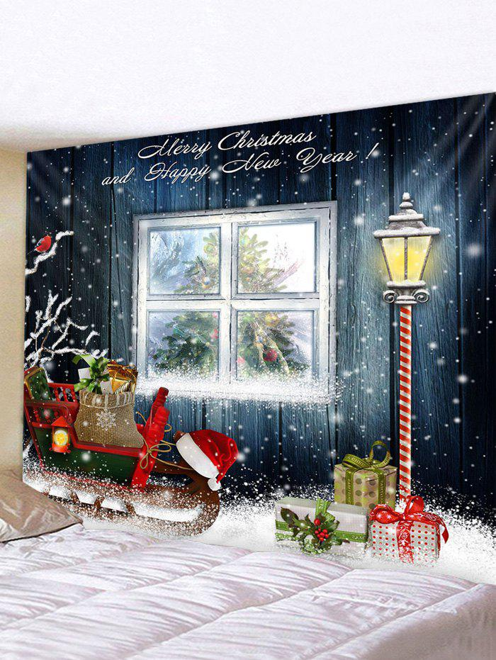 Christmas Sleigh Window Print Tapestry Wall Hanging Art Decoration - multicolor W91 X L71 INCH
