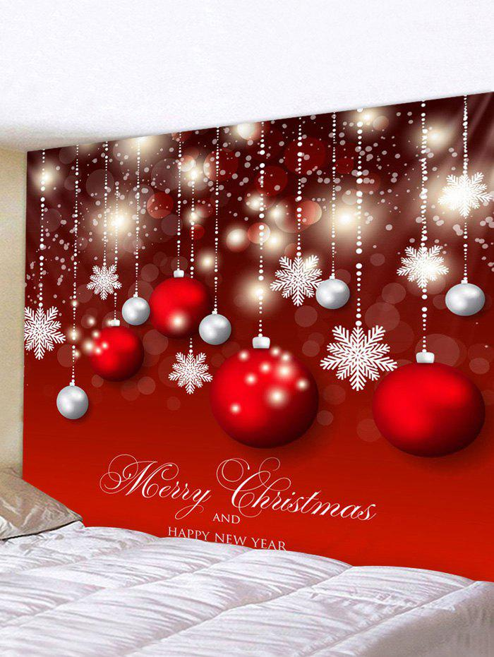 Christmas Ball Print Waterproof Tapestry Wall Hanging Art Decoration - RED W91 X L71 INCH