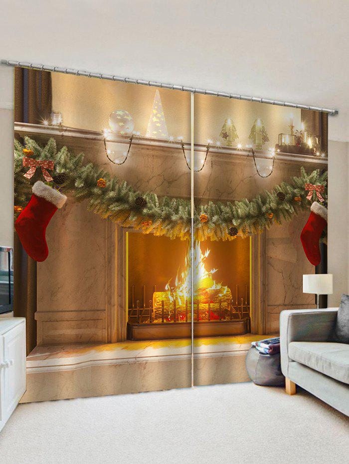 2 Panels Christmas Stocking Fireplace Print Window Curtains - multicolor W33.5 X L79 INCH X 2PCS
