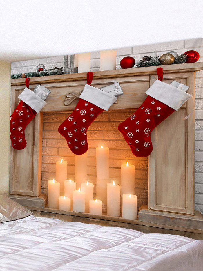 Christmas Stockings Candle Print Waterproof Tapestry Wall Hanging Art Decoration - multicolor W91 X L71 INCH
