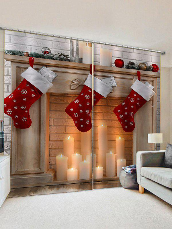 2 Panels Christmas Stocking Candles 3D Print Window Curtains - multicolor W28 X L39 INCH X 2PCS