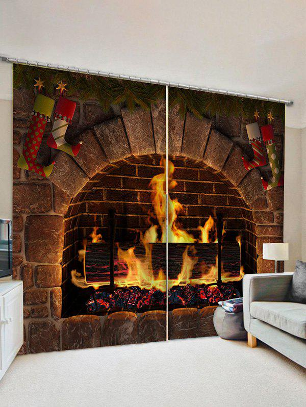 2 Panels Christmas Fireplace Stockings Print Curtains - multicolor W33.5 X L79 INCH X 2PCS