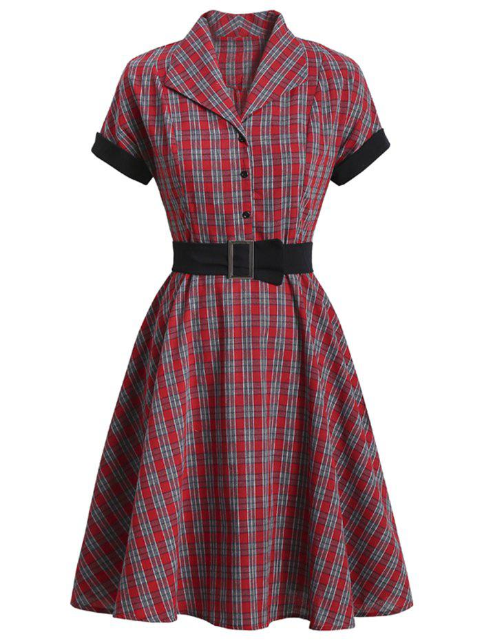 Plaid Mock Button Belted Rolled Sleeve Dress - RED 2XL
