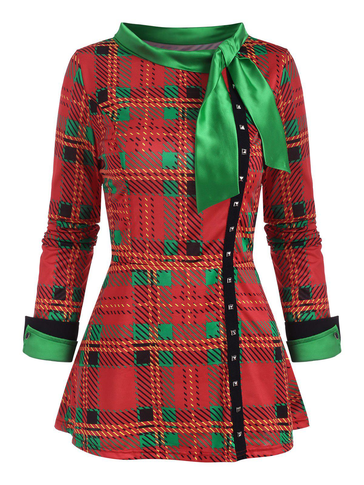 Christmas Plaid Pussy Bow Rivet Slit Cuff Top - RED XXXL