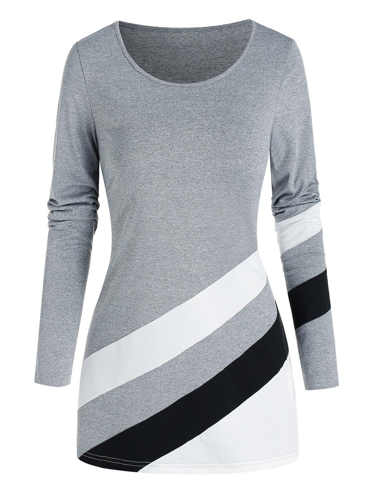 Oblique Striped Pattern Colorblock T Shirt - LIGHT GRAY 3XL