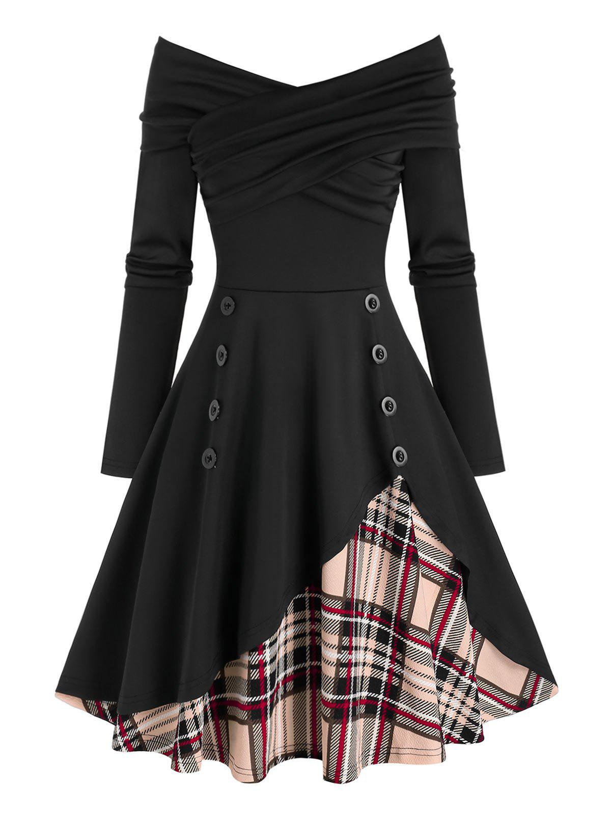 Off The Shoulder Button Plaid Panel Asymmetric Dress - BLACK M