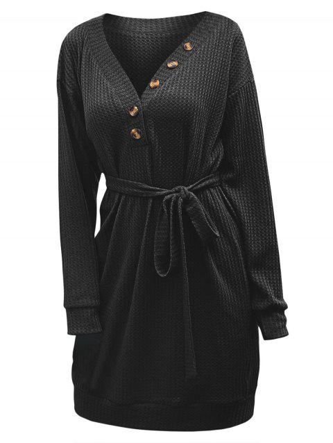 Knitted Mock Button Belted Drop Shoulder Mini Dress