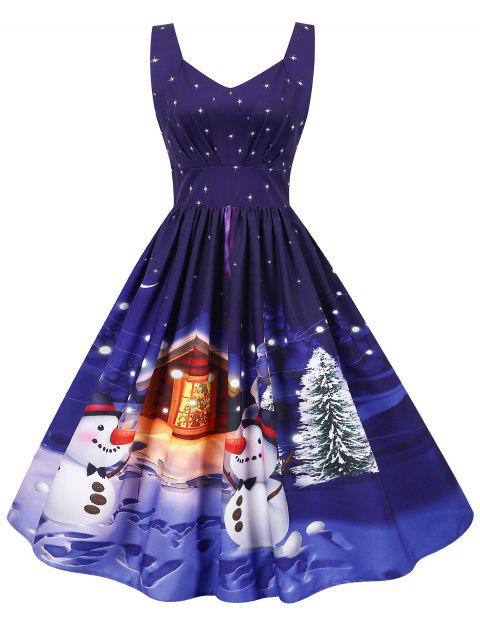 Christmas Santa Claus Gift Tree Print Sweetheart Dress