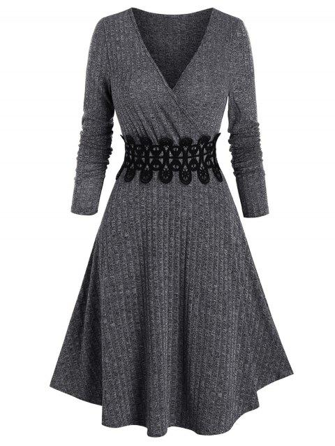 Waist Applique Ribbed V Neck Wrap Dress