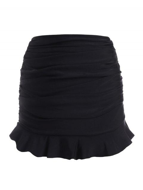 Ruffled Hem Ruched Solid Swim Skirt