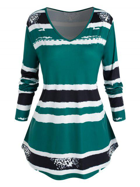 Plus Size Striped Curved T Shirt