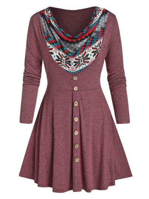 Plus Size Cowl Front Printed A Line Tunic Tee