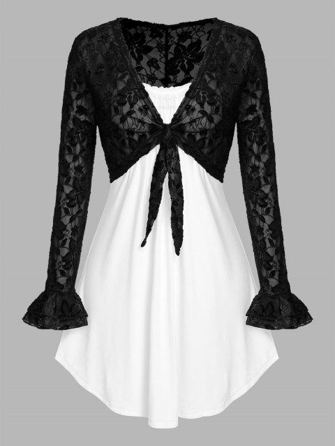 Plus Size Tie Knot Lace Crop Top and Camisole Set