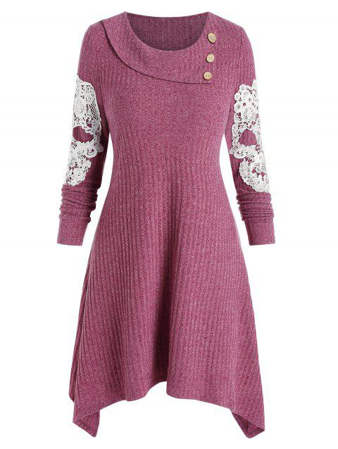 Applique Embroidered Skull Buttons Knitted Dress