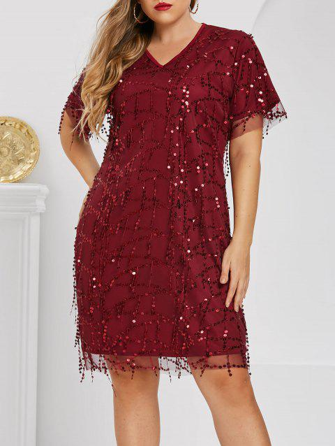 Plus Size V Neck Sequin Party Dress