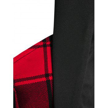 Plaid Pattern Faux Twinset High Low Skirted Coat