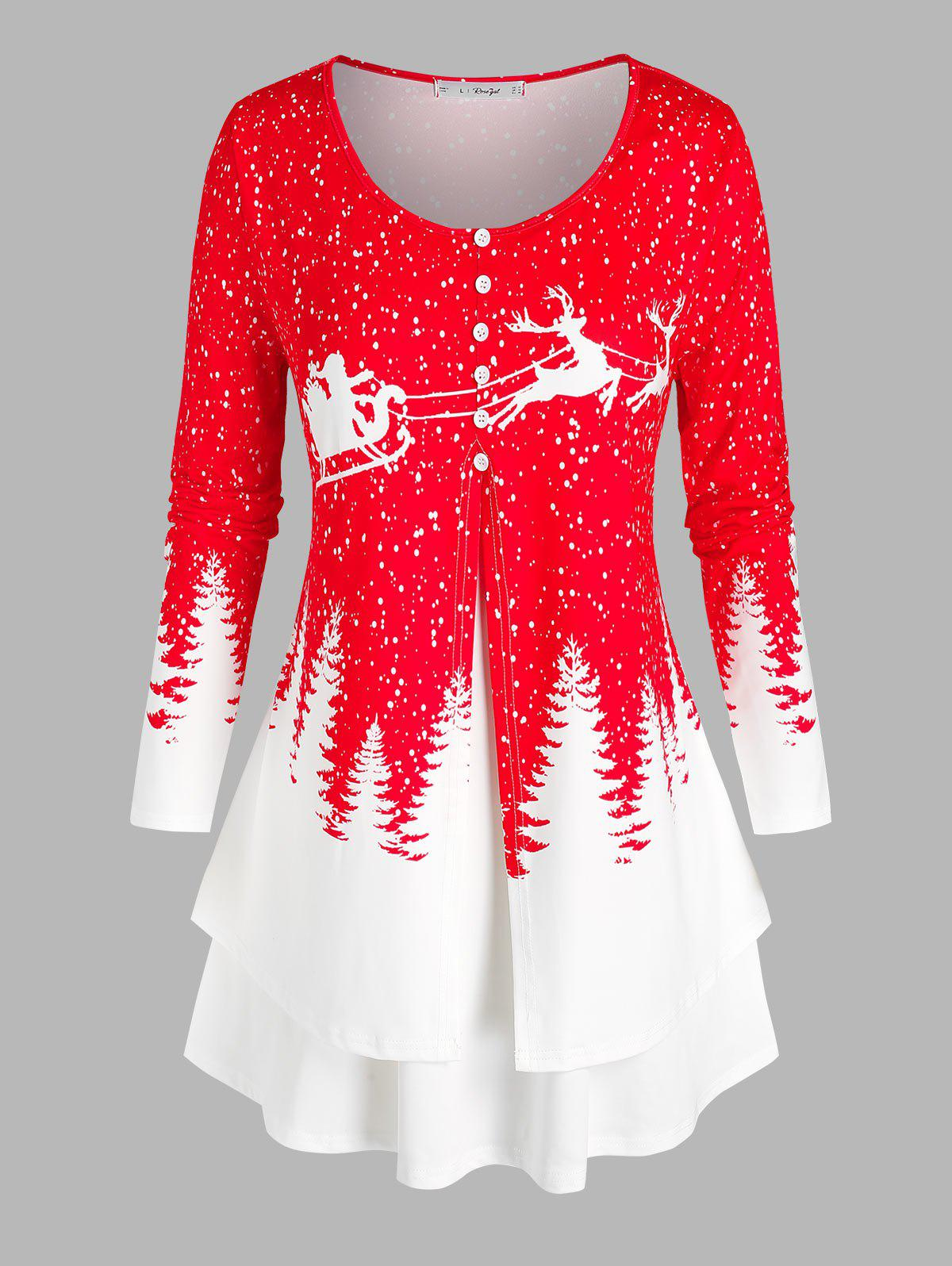 Plus Size Christmas Printed Layered T Shirt - RED 5X