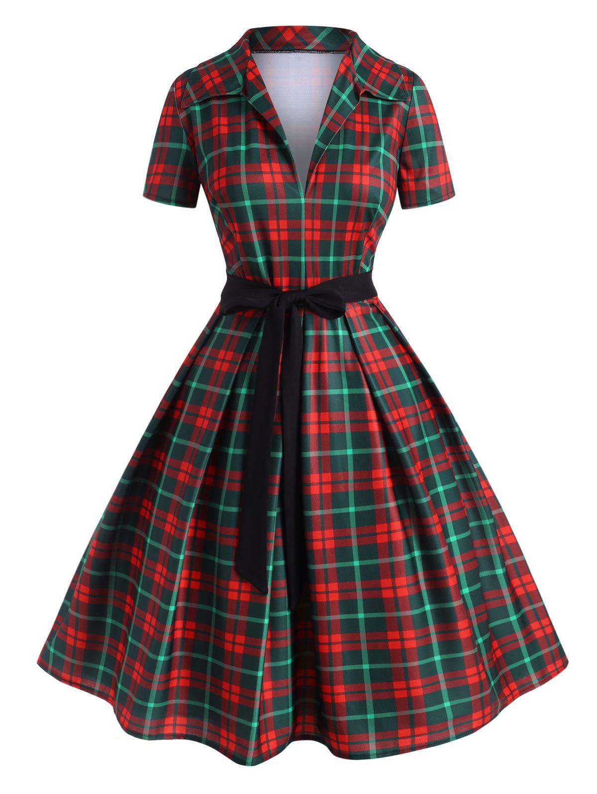 Plus Size Low Cut Plaid Fit and Flare Dress - RED 3X