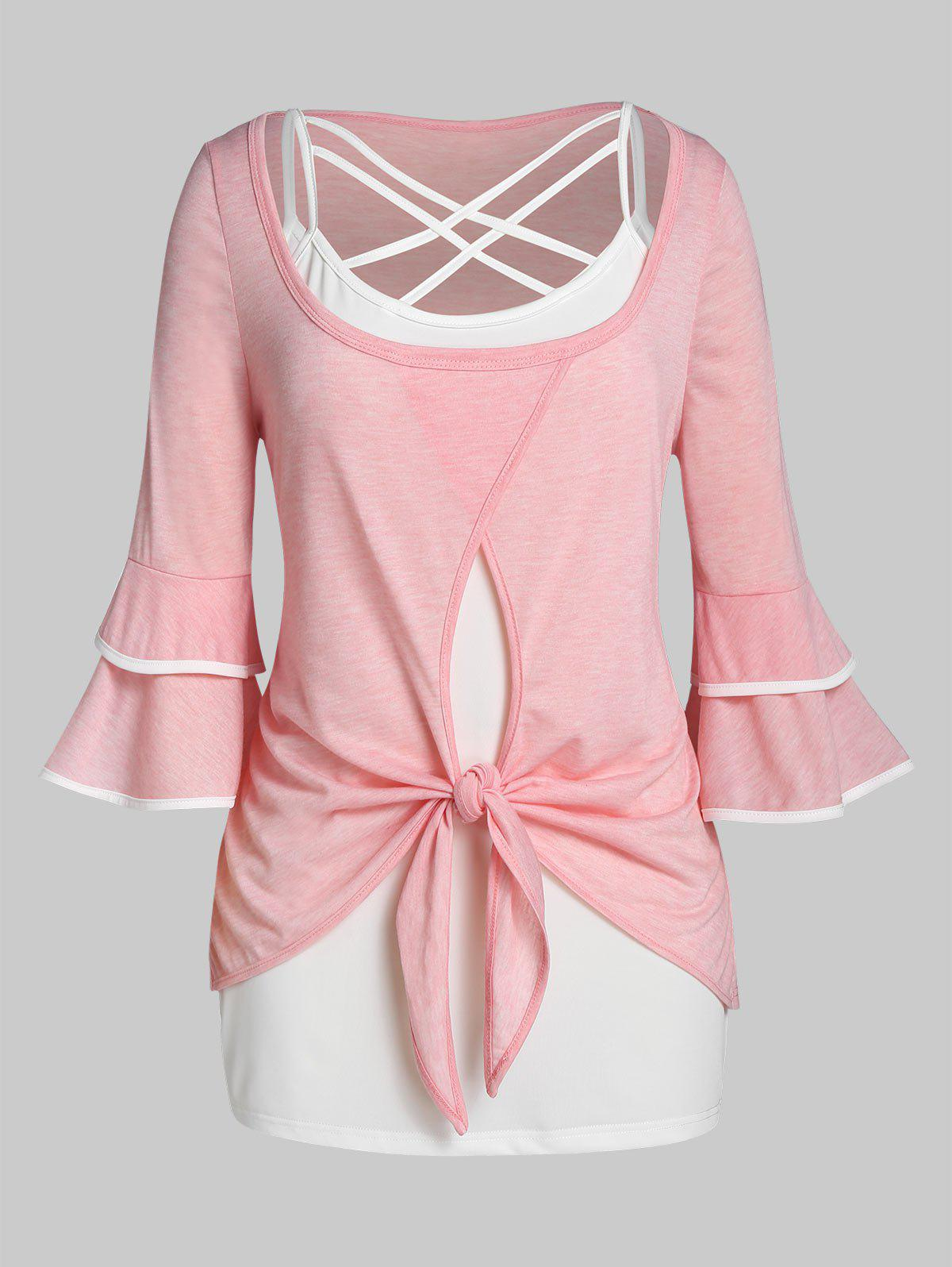 Plus Size Knotted Bell Sleeve T-shirt with Lattice Cami Top Set - PINK 5X