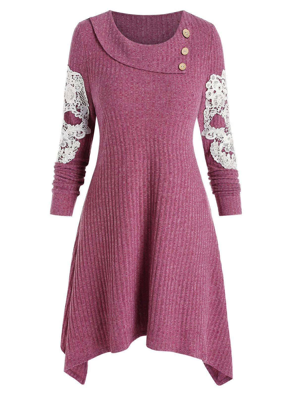 Applique Embroidered Skull Buttons Knitted Dress - LIPSTICK PINK XL