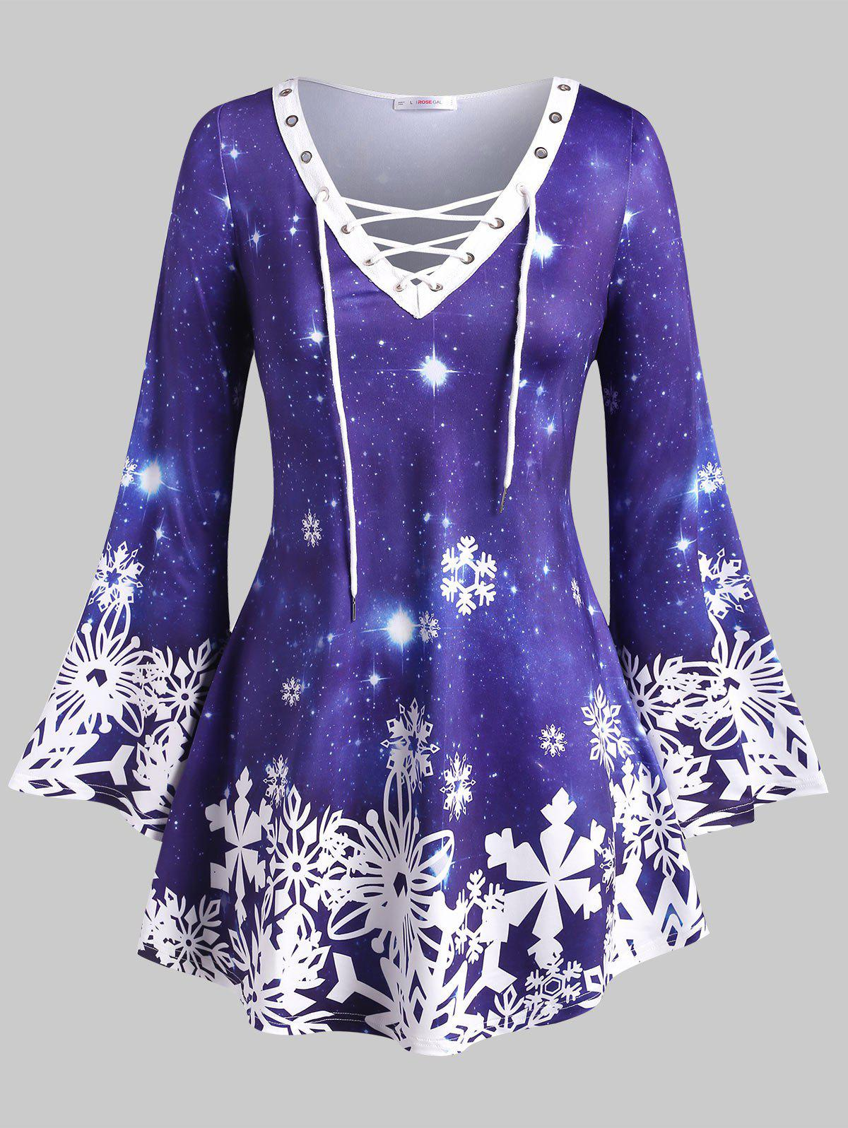 Galaxy Snowflake Lace Up Christmas Plus Size Top - BLUE 5X