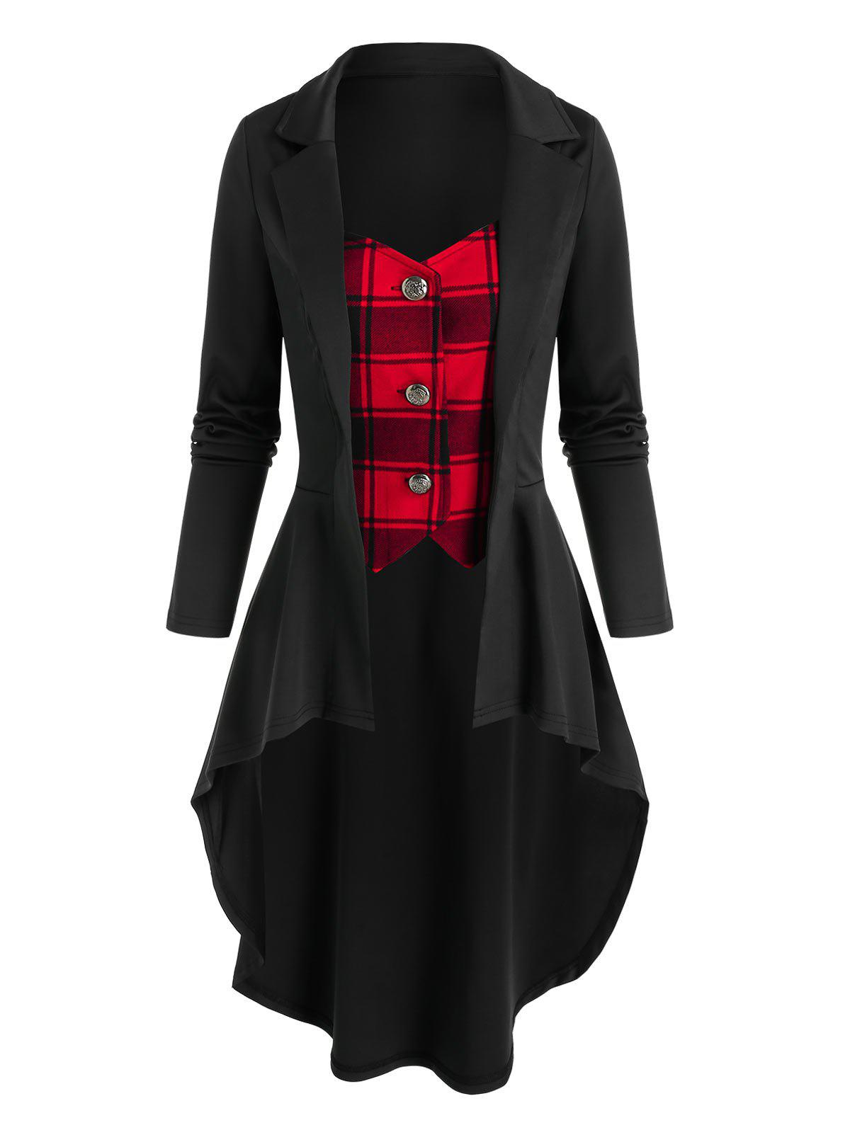 Plaid Pattern Faux Twinset High Low Skirted Coat - BLACK 3XL
