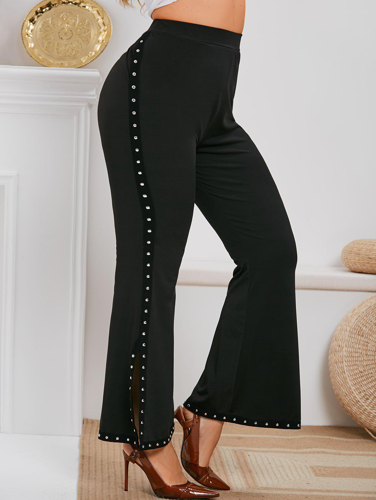 Plus Size Side Slit Rivet Embellished Flare Pants - BLACK 1X