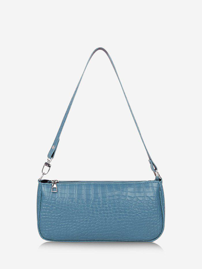 French Style Textured Shoulder Bag - MARBLE BLUE