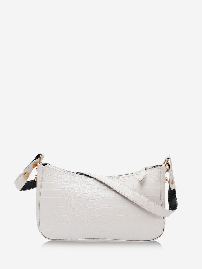 French Style Solid Rectangle Shoulder Bag - MILK WHITE