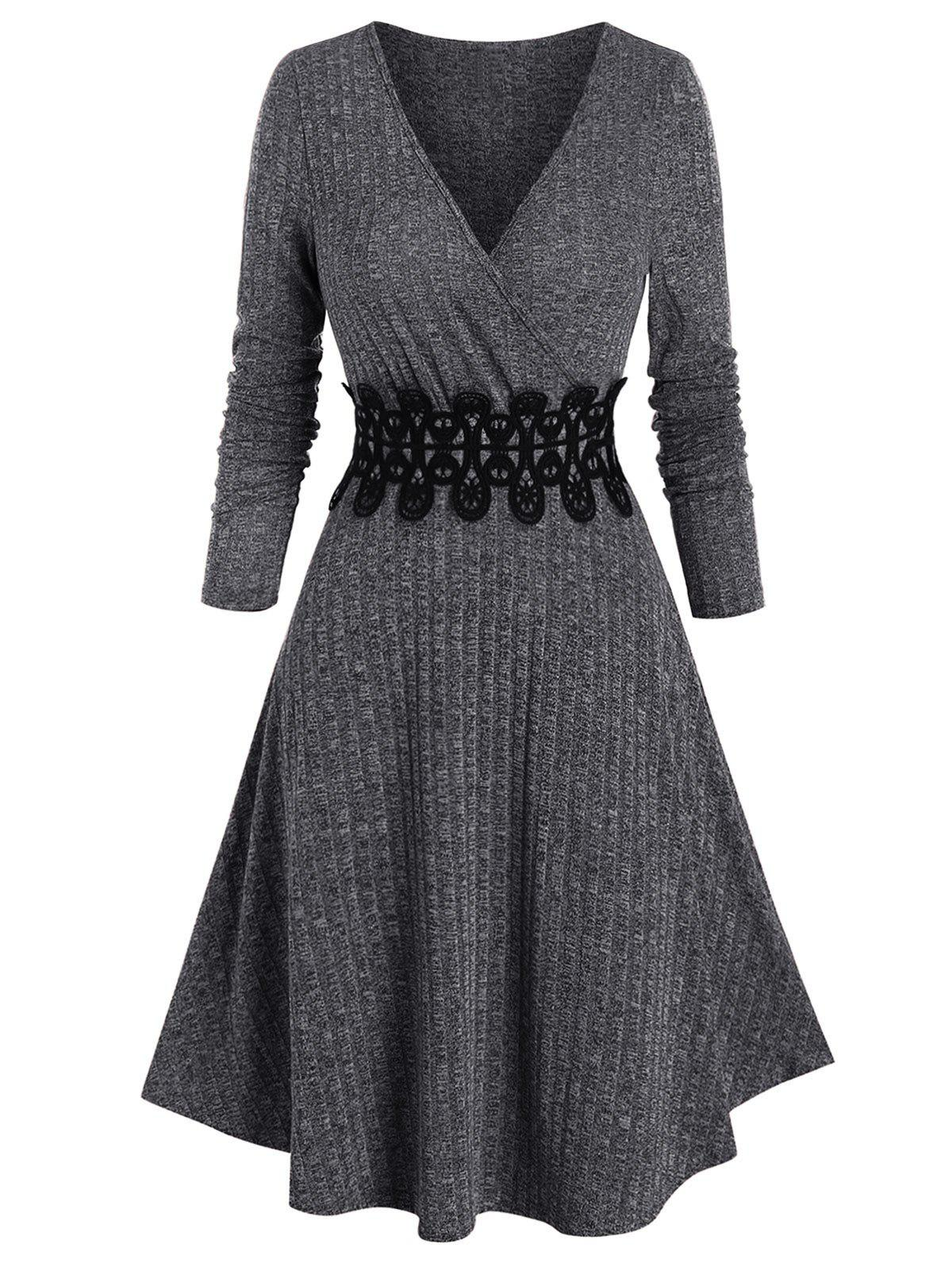 Waist Applique Ribbed V Neck Wrap Dress - DARK SLATE GREY M