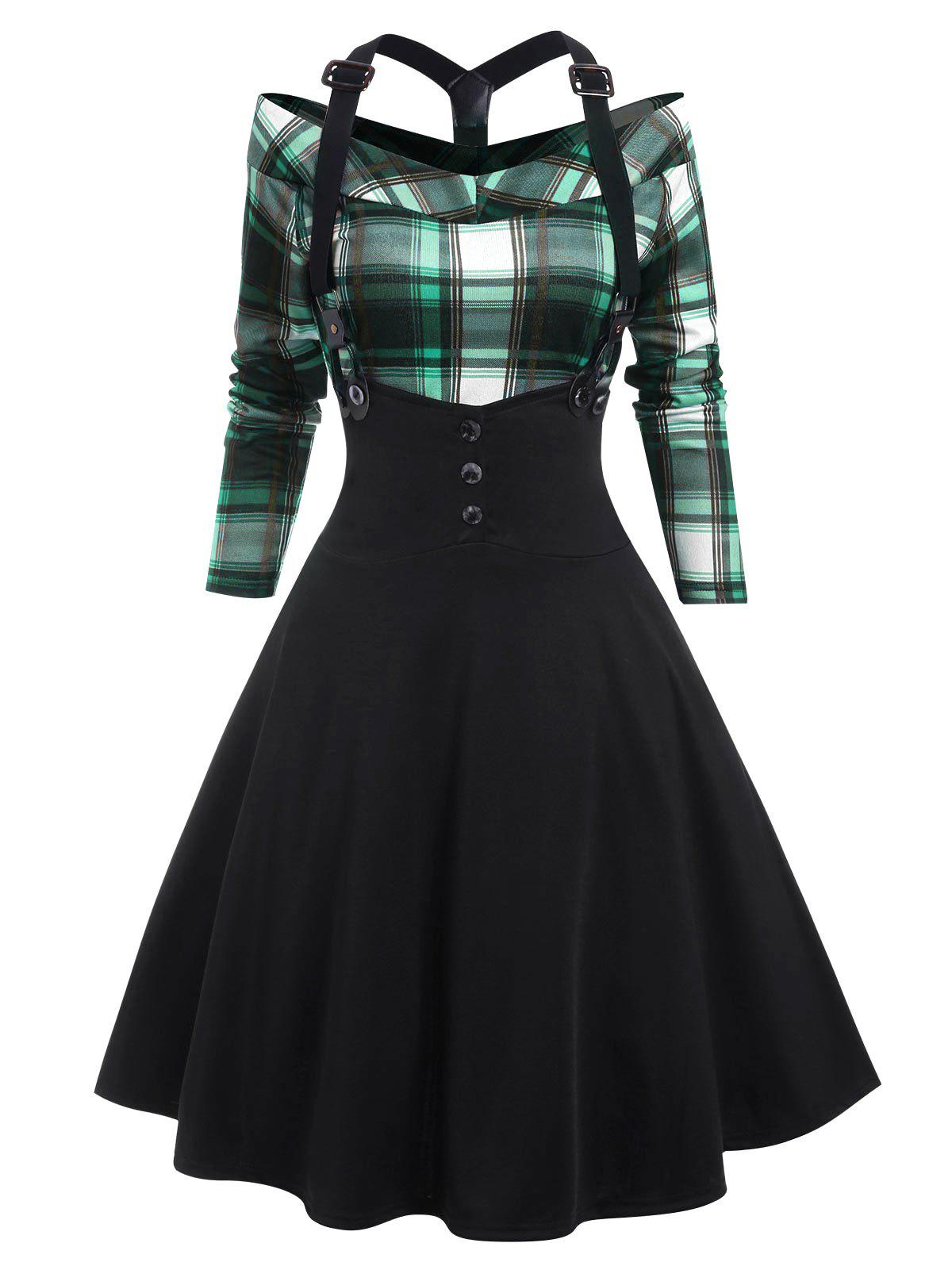 Plaid Y Line Back Suspender Skirt Set - MACAW BLUE GREEN XXL