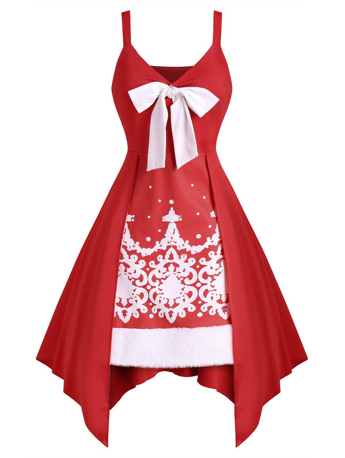 Bowknot Faux Fur Insert Baroque Print Handkerchief Dress - RED S