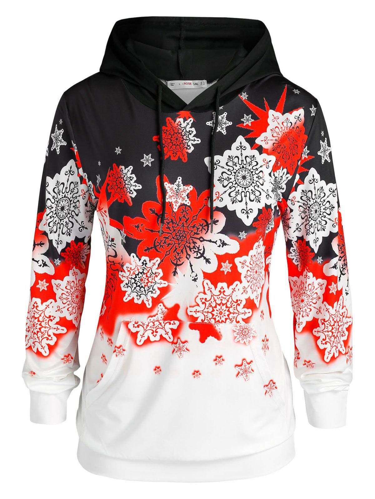 Plus Size Christmas Snowflake Front Pocket Hoodie - RED 5X