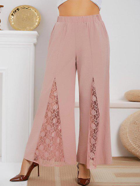 Lace Panel High Waisted Plus Size Boot Cut Pants