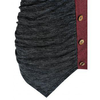 Two Tone Ruched Irregular Knitwear