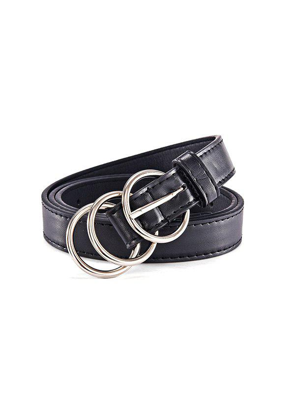 Trio Round Buckle Belt - BLACK