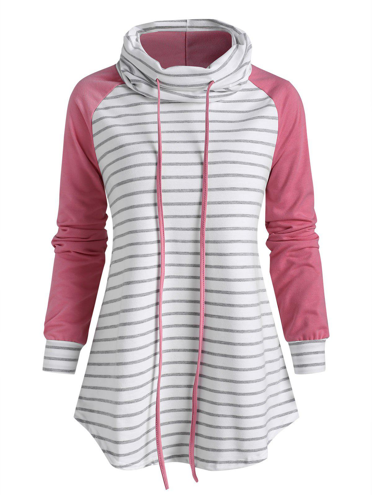 Funnel Neck Striped Raglan Sleeve Sweatshirt - LIGHT PINK 2XL