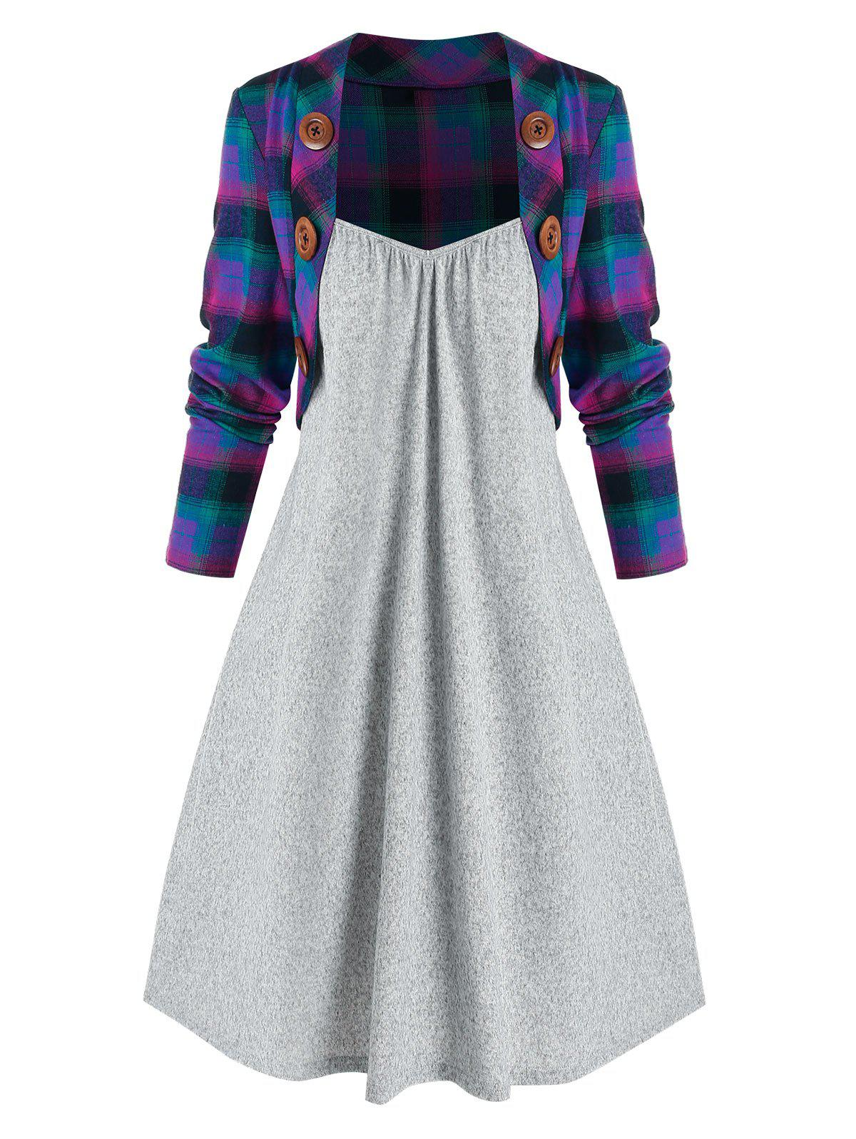 Mock Button Plaid Pattern Twofer Dress - multicolor A 2XL