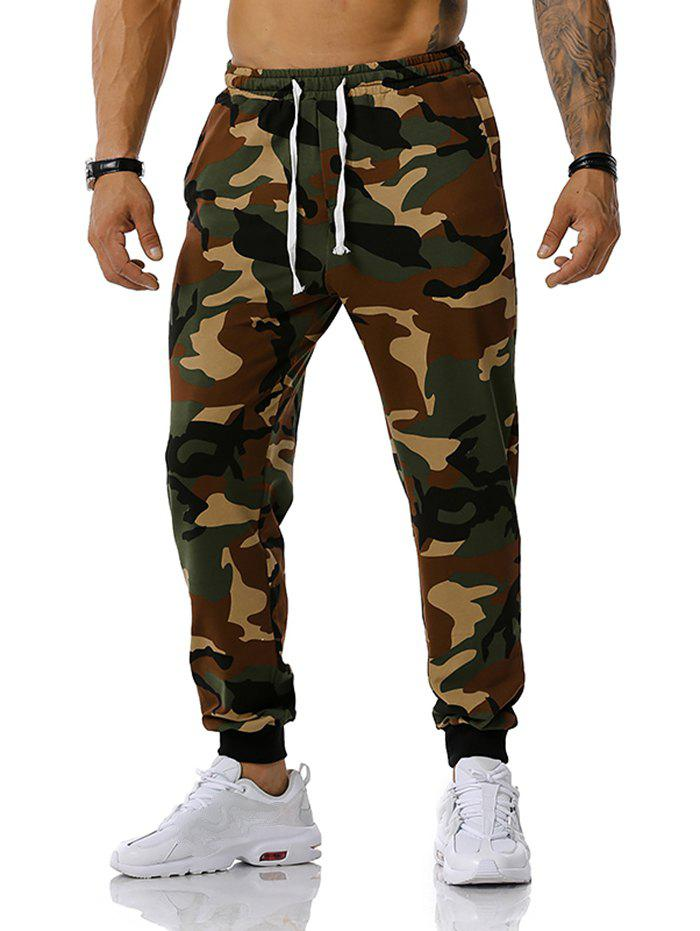 Camouflage Pattern Drawstring Sports Pants - ARMY GREEN XXL