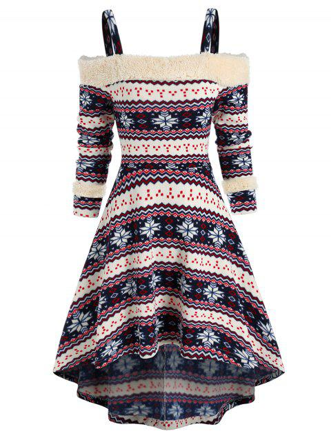 Tribal Print Cold Shoulder High Low Dress