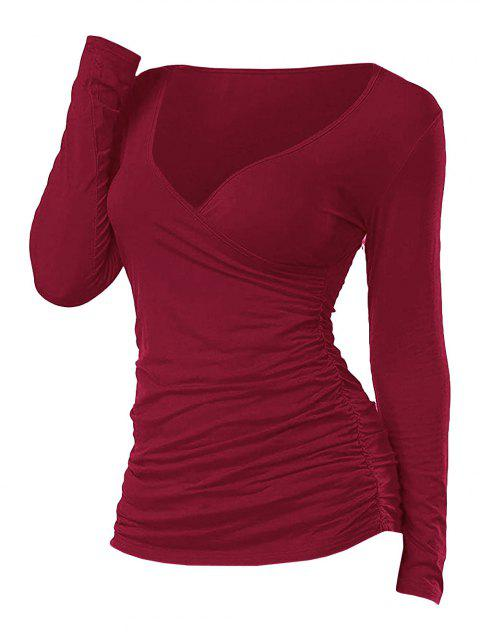 Plunging Ruched Long Sleeve T Shirt
